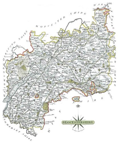 Ancient Map of teh Ceremonial County of Gloucestershire