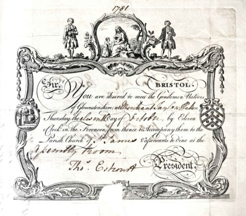 A Gloucestershire Society Invitation From Thomas Estcourt - 1781