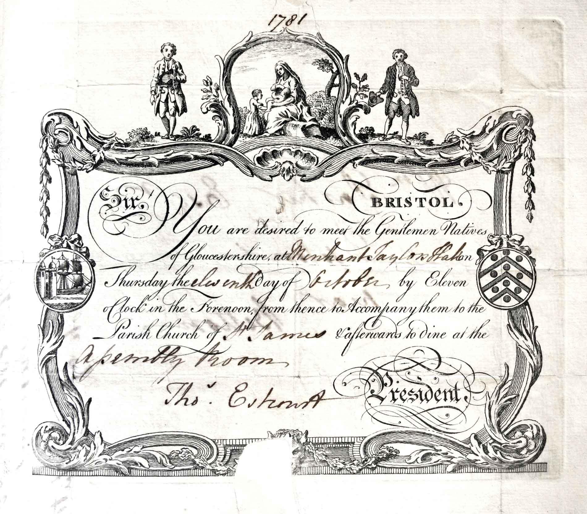 A Gloucestershire Society Invitation From Thomas Estcourt - 1781